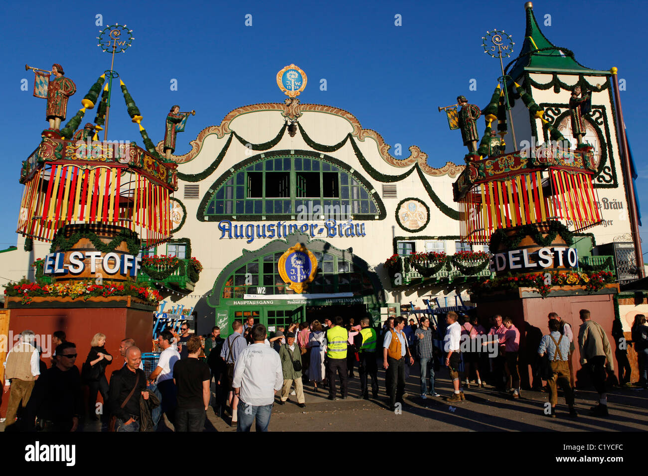 The exterior of the Augustiner festival tent at the Munich Oktoberfest & The exterior of the Augustiner festival tent at the Munich Stock ...