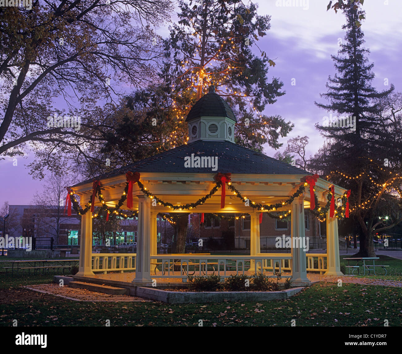 Gazebo In Paso Robles City Park Decorated For Christmas