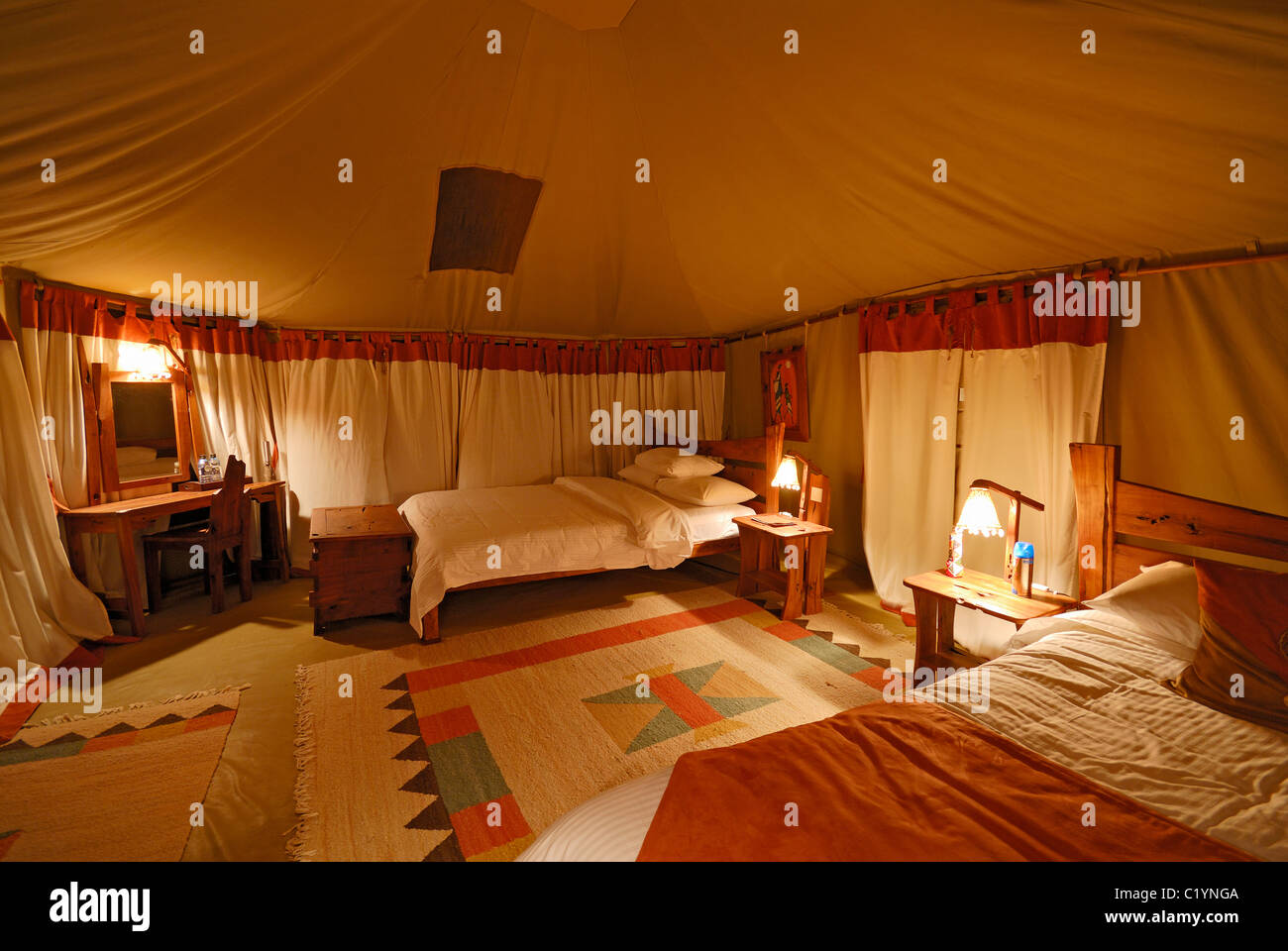 Illuminated Sleeping Room In Elephant Bedroom Tended Camp Samburu Stock Photo Royalty Free