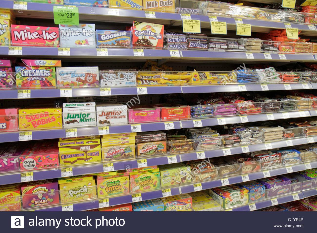 Miami Beach Florida Walgreens pharmacy drug store candy M&M ...