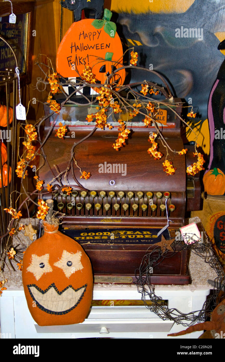 antique cash register surrounded by halloween decorations lindstrom minnesota mn usa