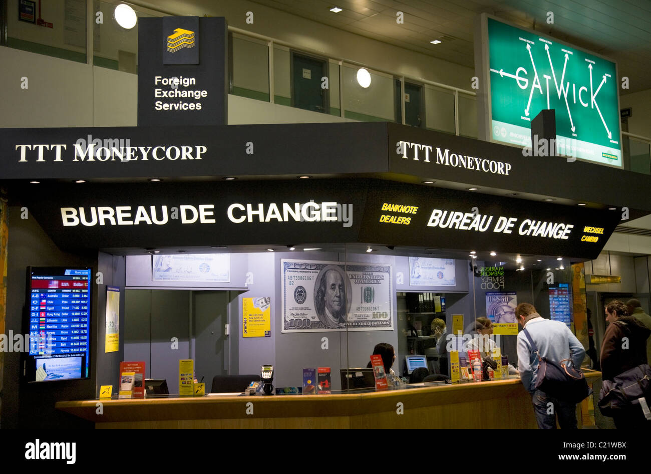 TTT Moneycorp Bureau de Change office Gatwick airport South Stock