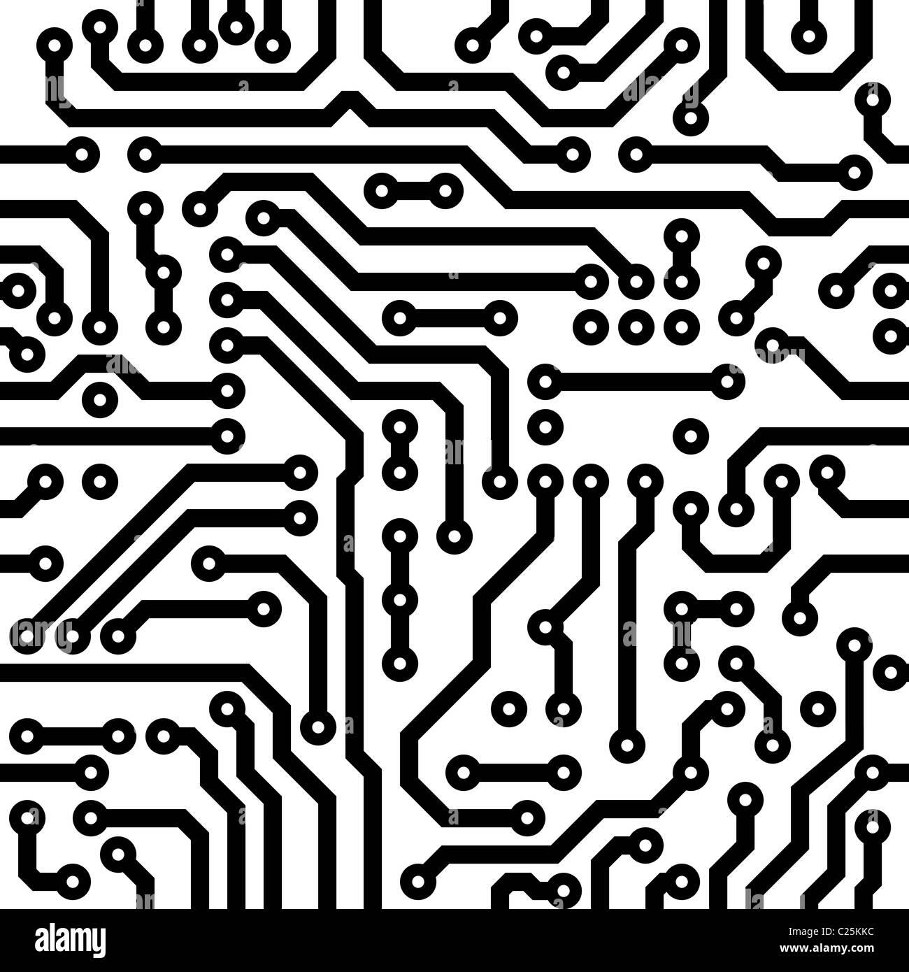 Monochrome seamless texture - electronic circuit board Stock Photo ...