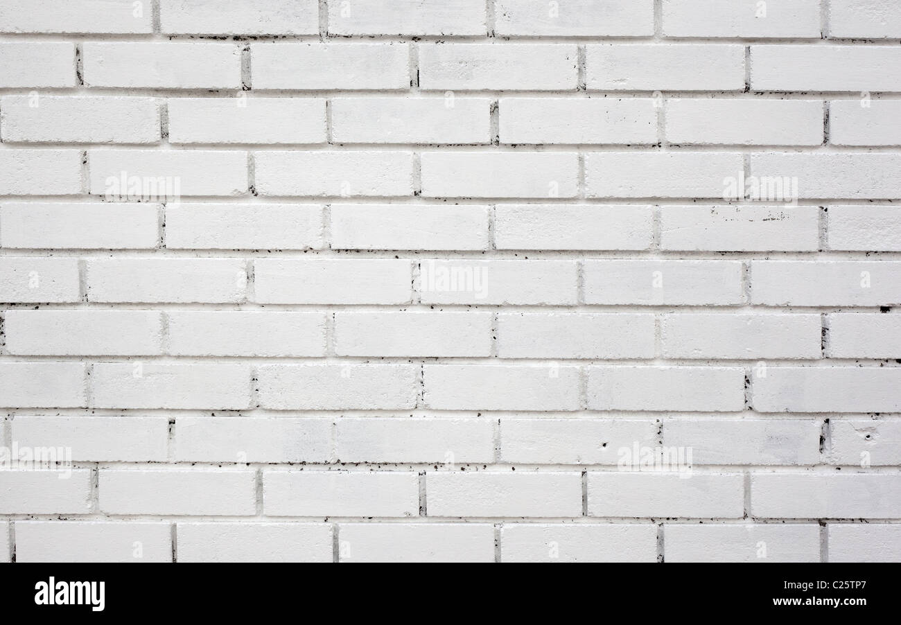 White Painted Brick Wall Background Close Up Stock Photo