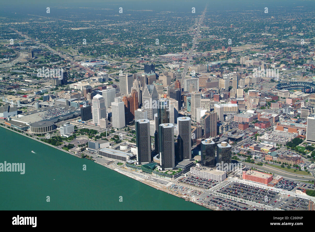 Aerial View Of Downtown Detroit Michigan And Detroit River