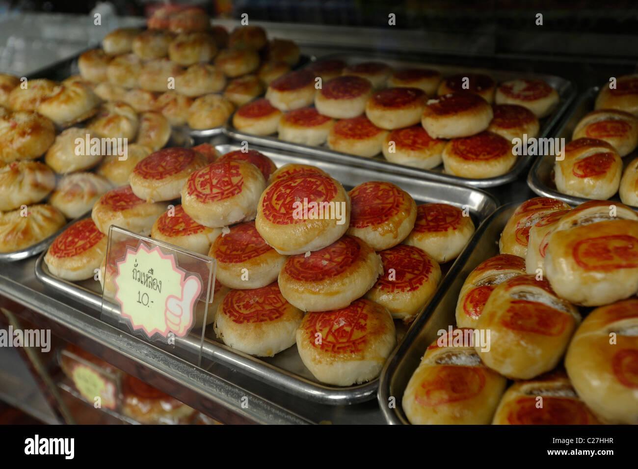 Chinese Cakes On Display Sweet And Savoury Snacks Thai Chinese Patisery Bangkok Thailand