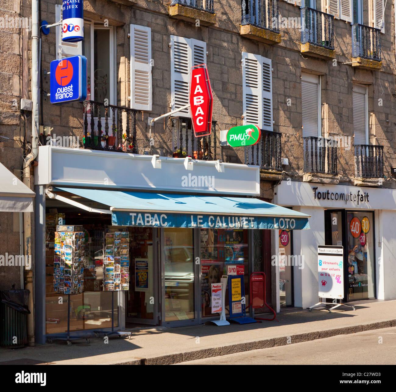 Tabac store on the main street in Pontivy, Morbihan