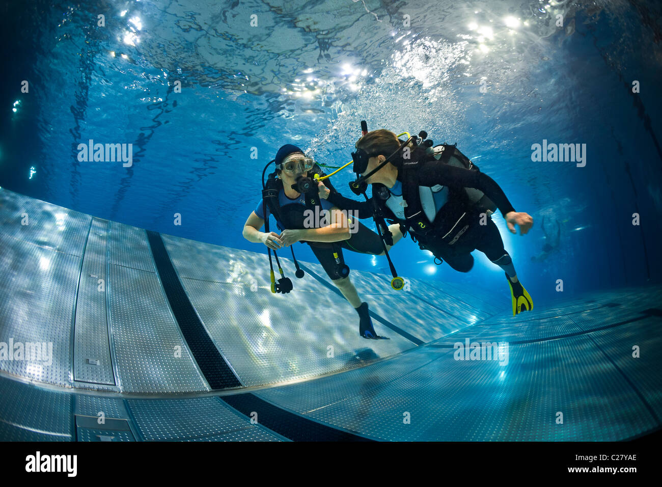 A Scuba Diving Training Session In A Swimming Pool France Scuba Stock Photo Royalty Free