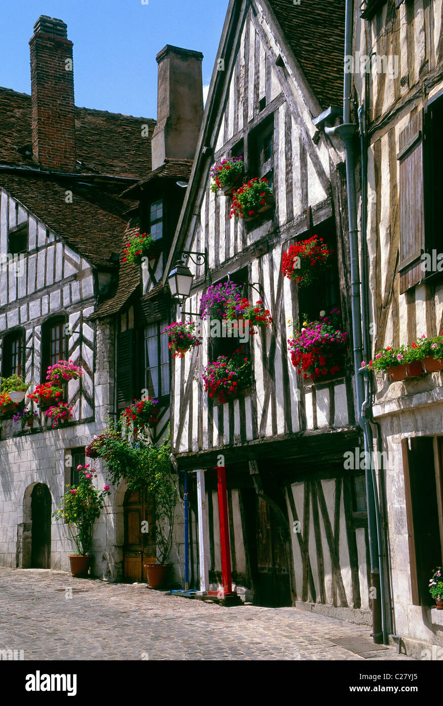 flower boxes brighten the historic tudor style homes in the flower boxes brighten the historic tudor style homes in the medieval town of auxerre france