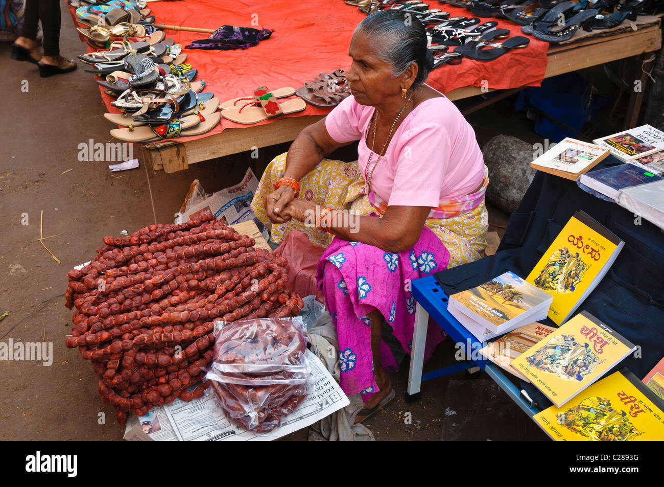 Goan Sausages on sale at the Mapusa Friday Market North Goa