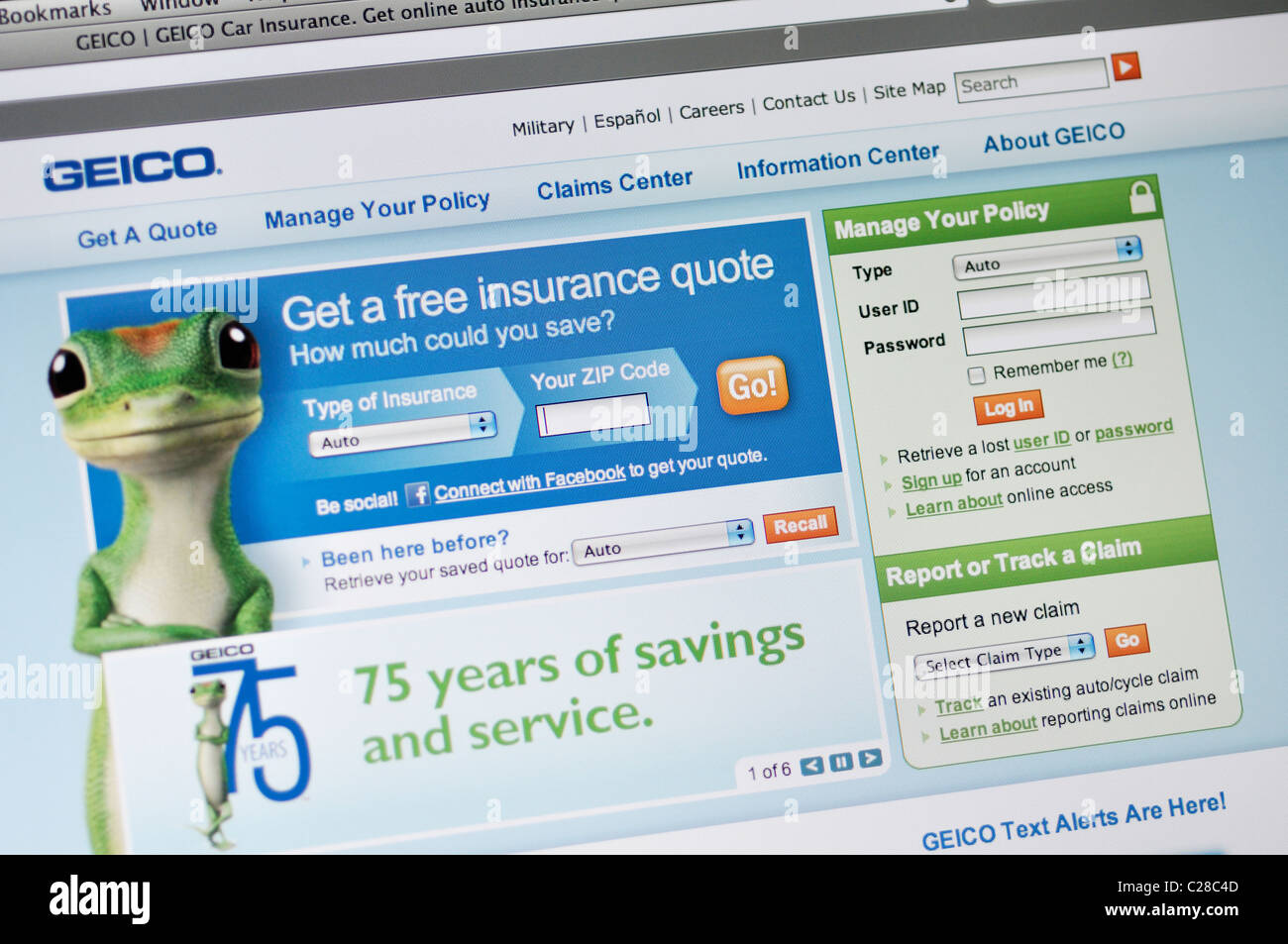 Geico Online Quote Geico Car Insurance Website Stock Photo Royalty Free Image