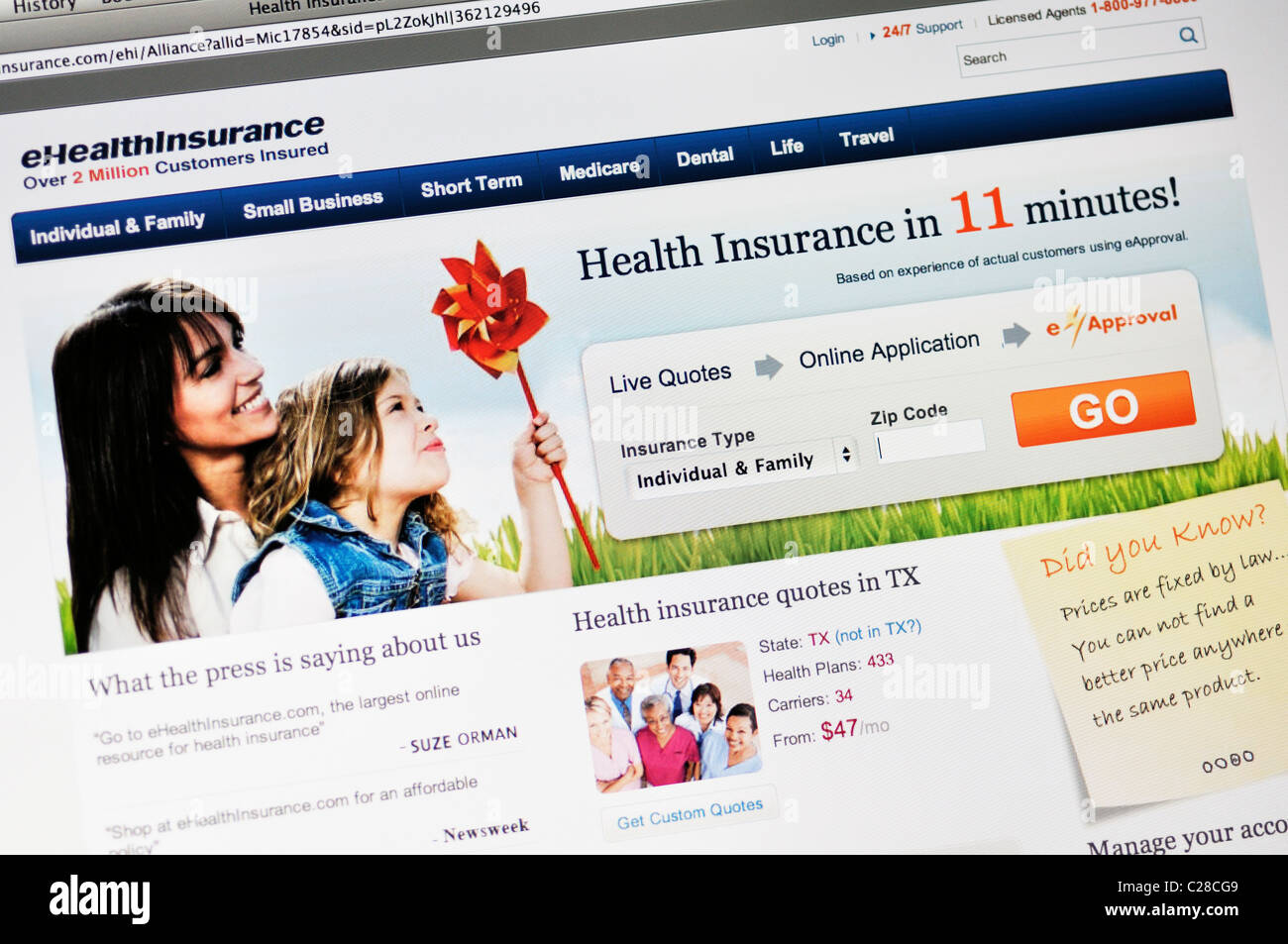 Free Health Insurance Quotes Ehealthinsurance Website  Health Insurance Quotes Stock Photo