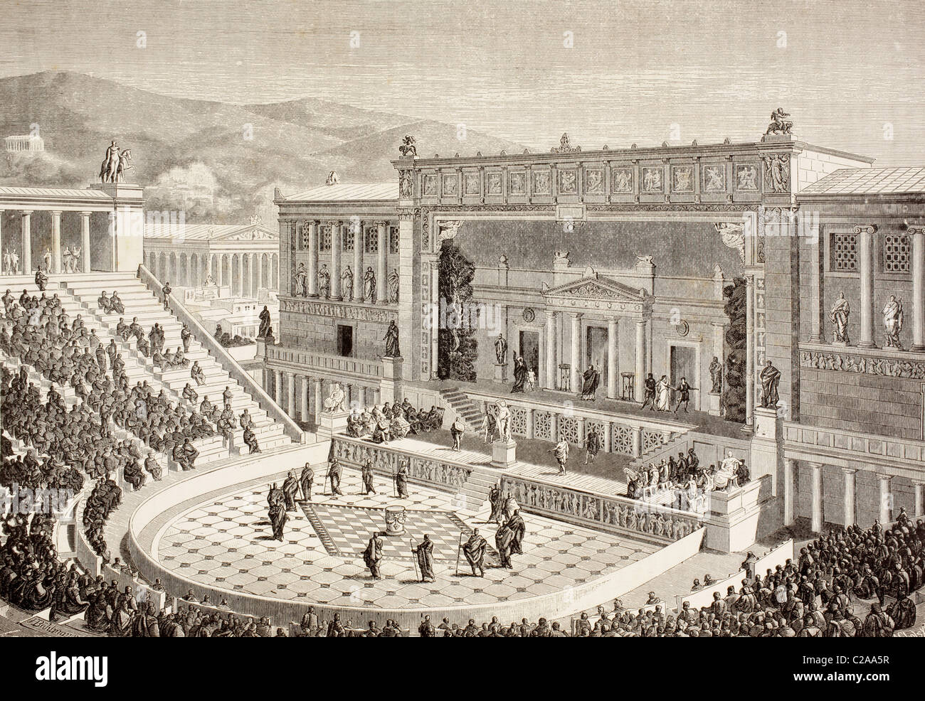 Artists impression of a reconstructed Theatre of Dionysus ...