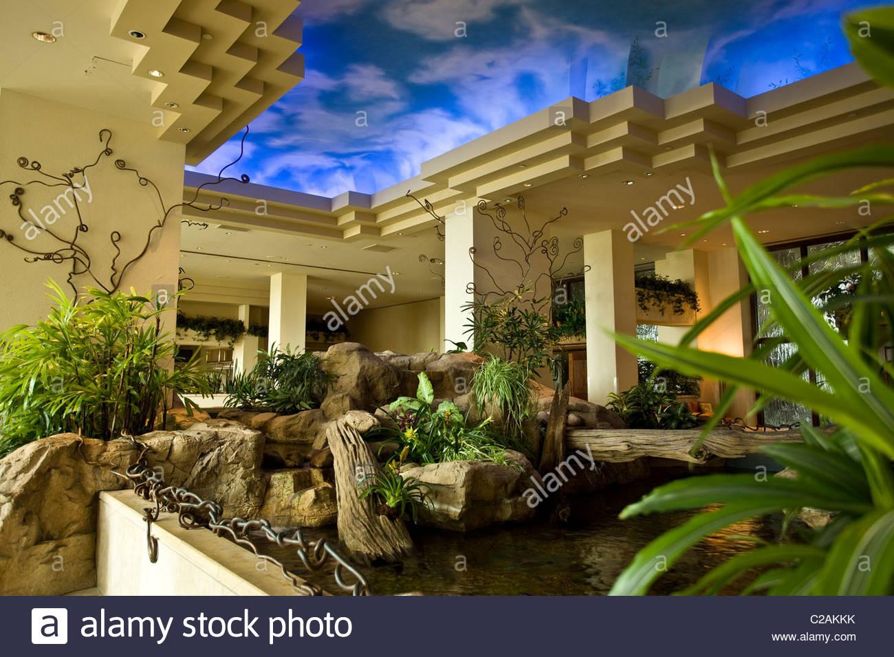Moody Gardens Hotel Lobby Resort, Galveston, Texas.