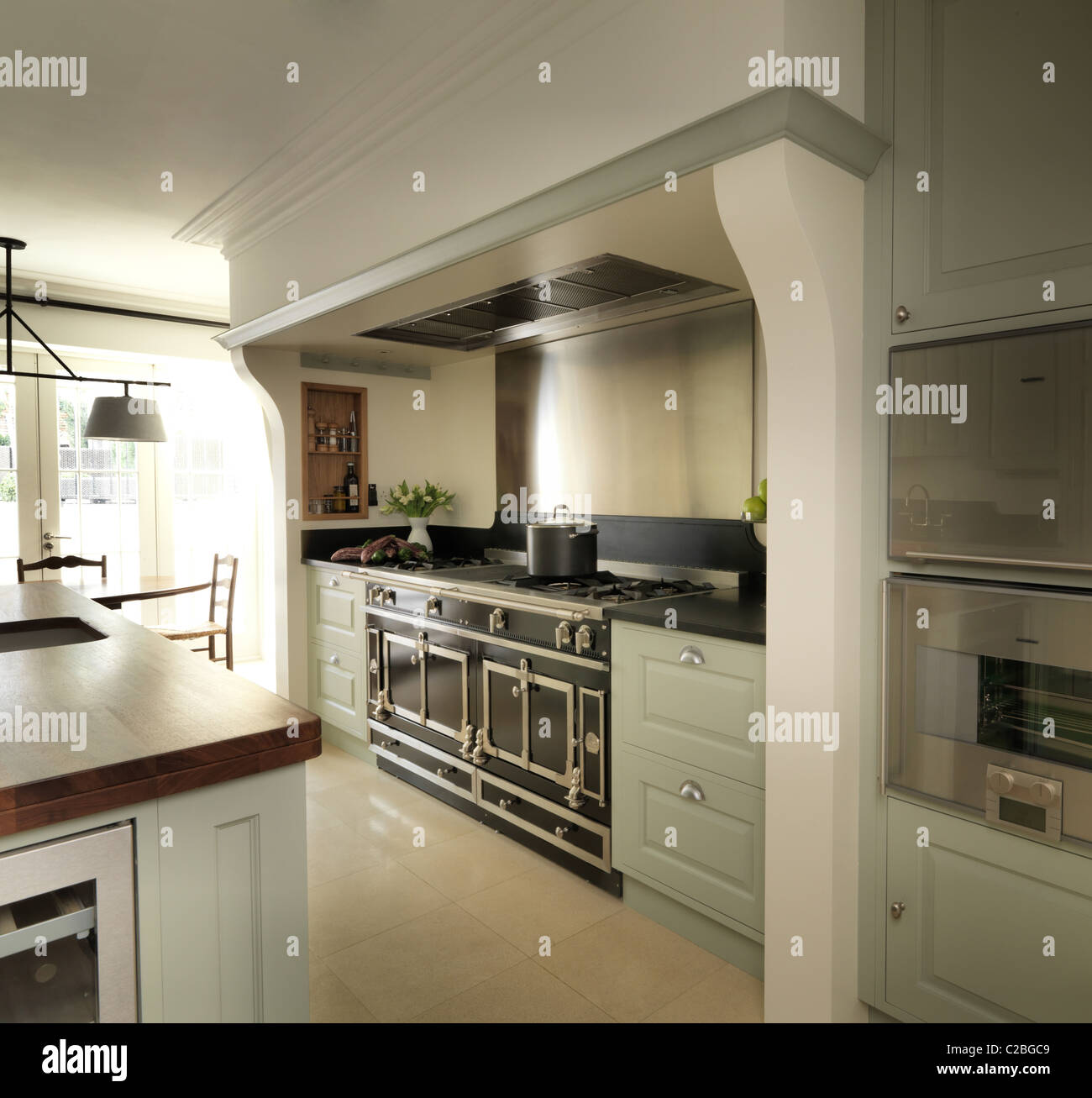 Green Painted London Kitchen, With A La Cornue Oven Custom Designed, Custom  Hand Made