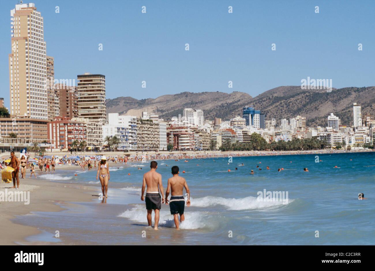 Benidorm Valencia Spain Beach Resort Hotels Seaside With People