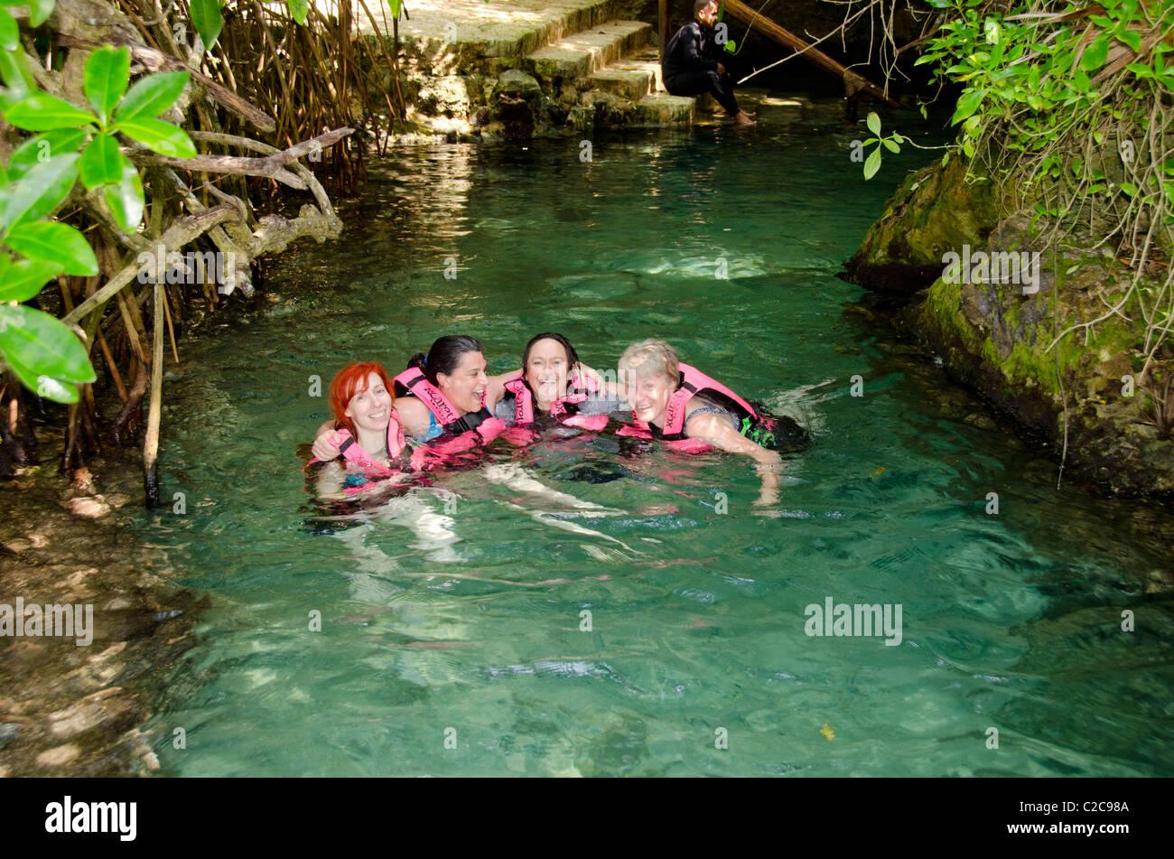 Mexico Quintana Roo Playa Del Carmen Xcaret Underground River Stock Photo Royalty Free