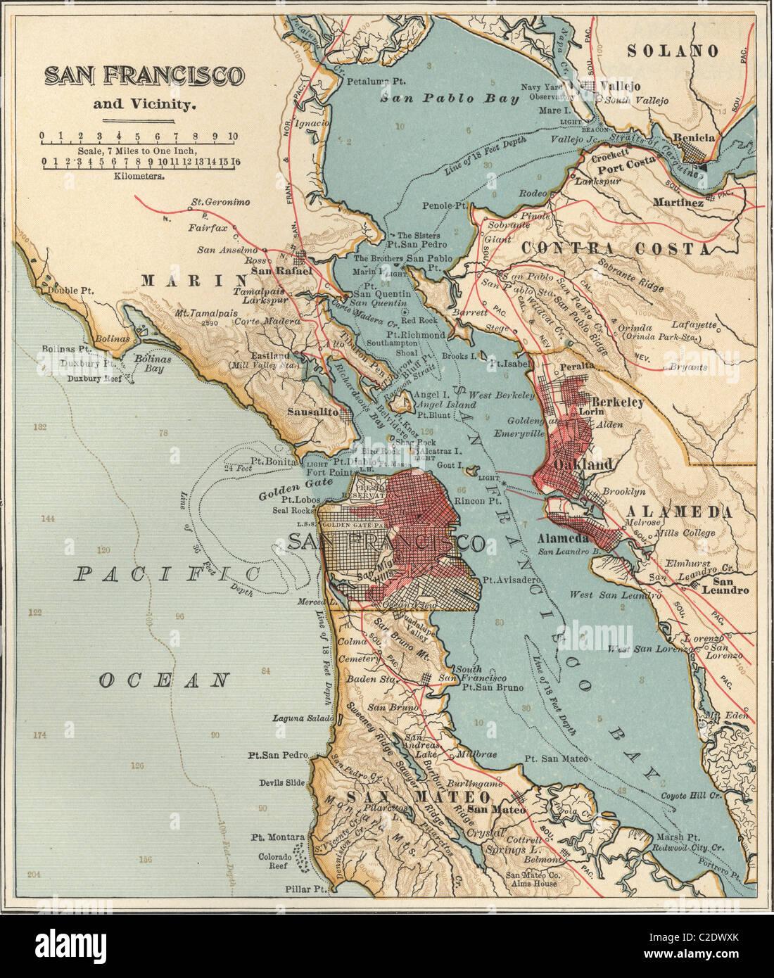 Map of San Francisco Bay Stock Photo Royalty Free Image 35955771