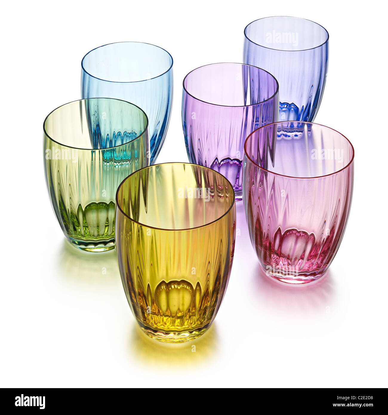 6 colored water glasses stock photo royalty free image for Water glass images