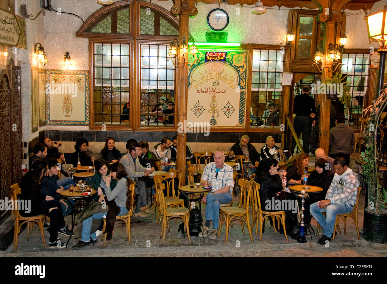 Old Damascus Syria Water Pipe Cafe Tea Coffee House Bazaar Souq