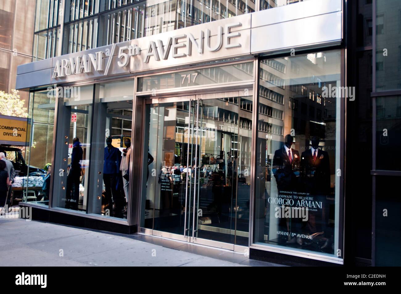 Giorgio Armani luxury fashion designer store at Fifth Avenue Stock ...