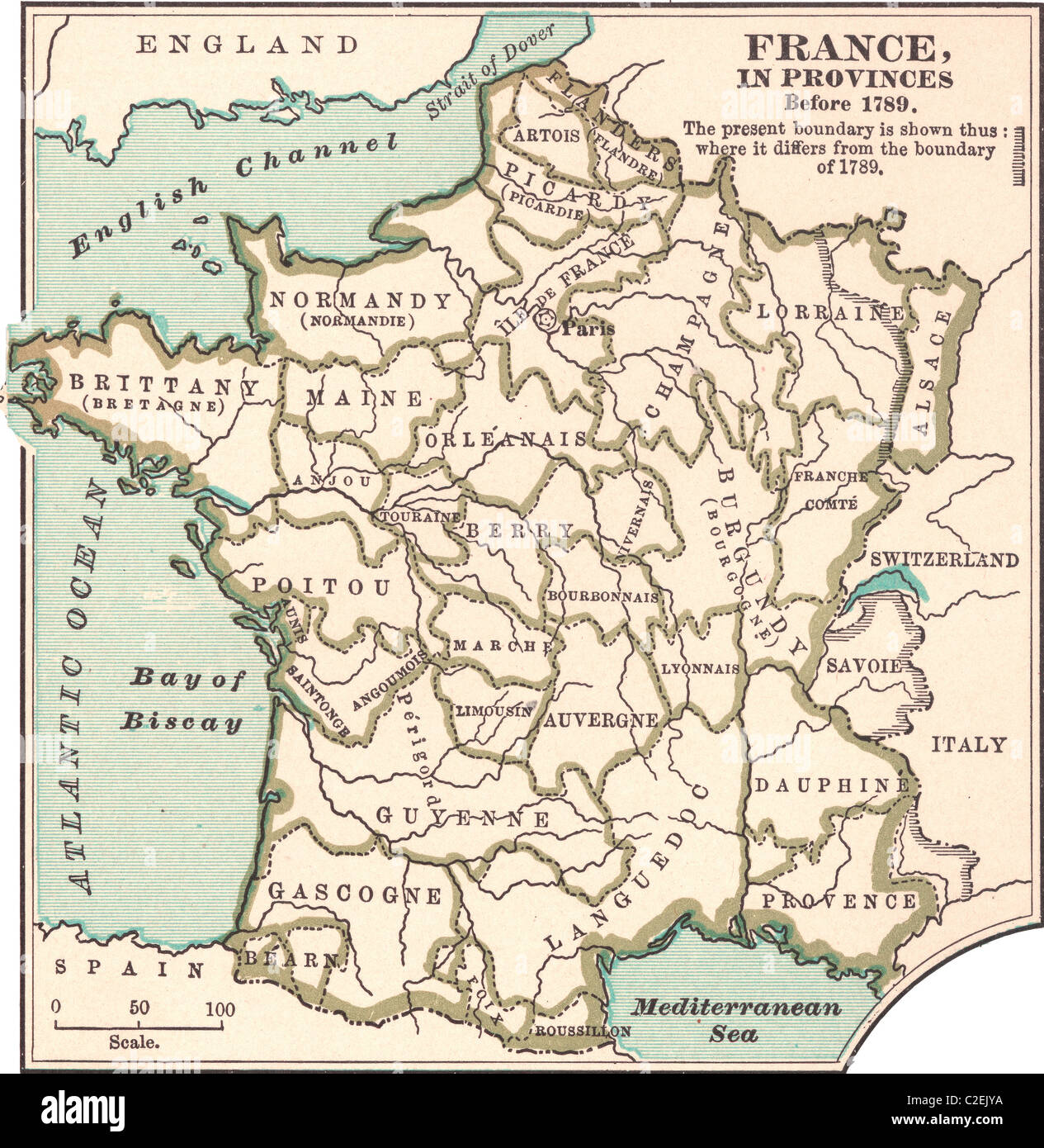 Map of France in Provinces Stock Photo Royalty Free Image