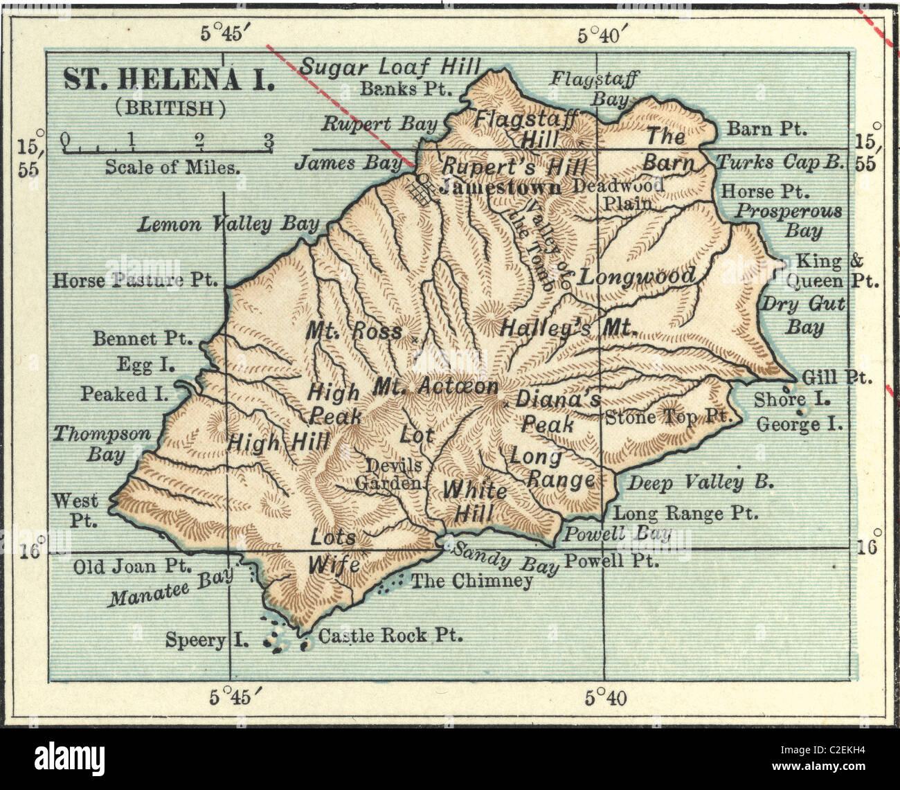 Map of Saint Helena Island Stock Photo Royalty Free Image 35972752