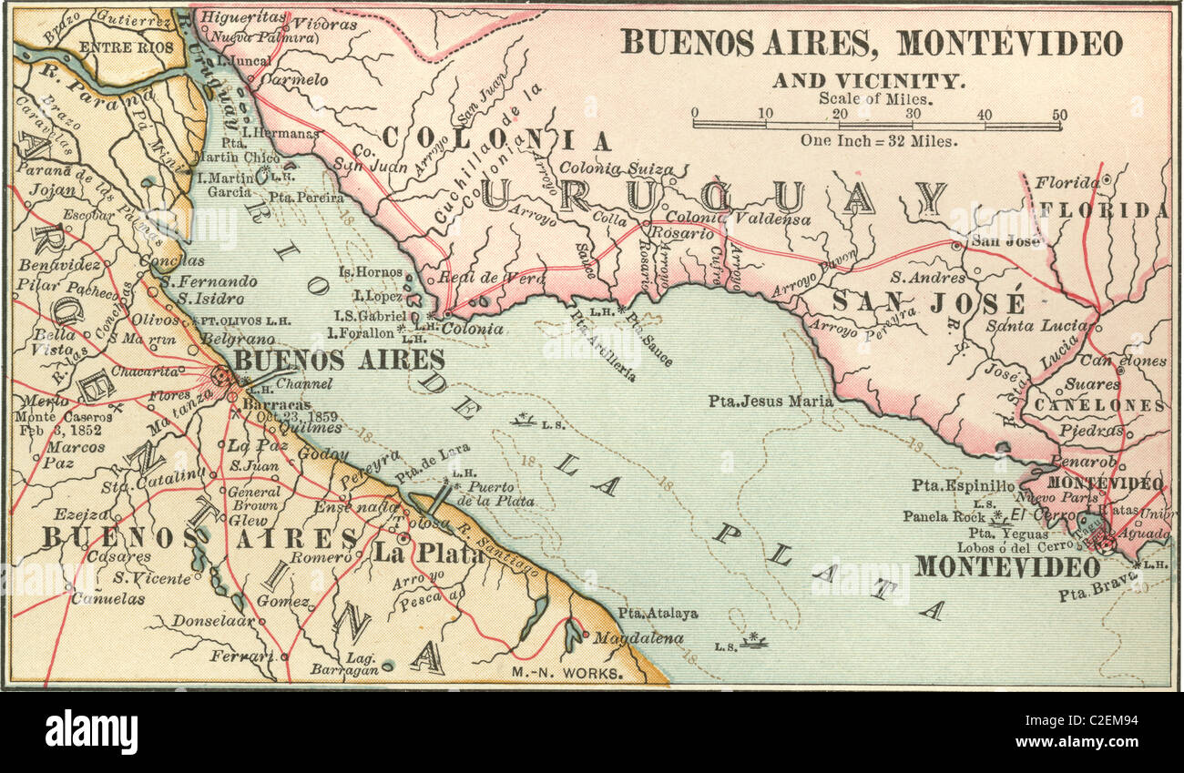 Map Of Buenos Aires And Montevideo Stock Photo Royalty Free Image - Montevideo map