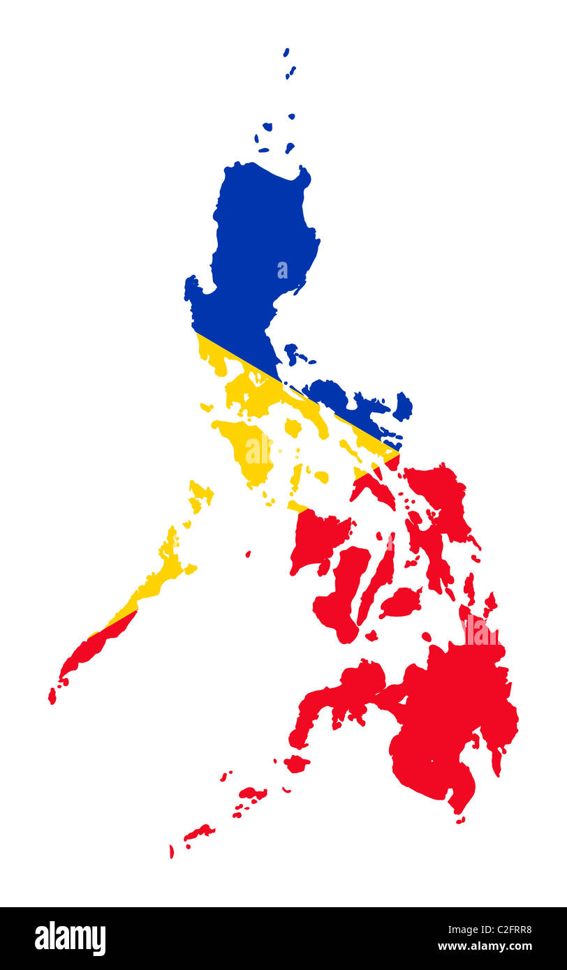 Illustration of the Philippines flag on map of country isolated