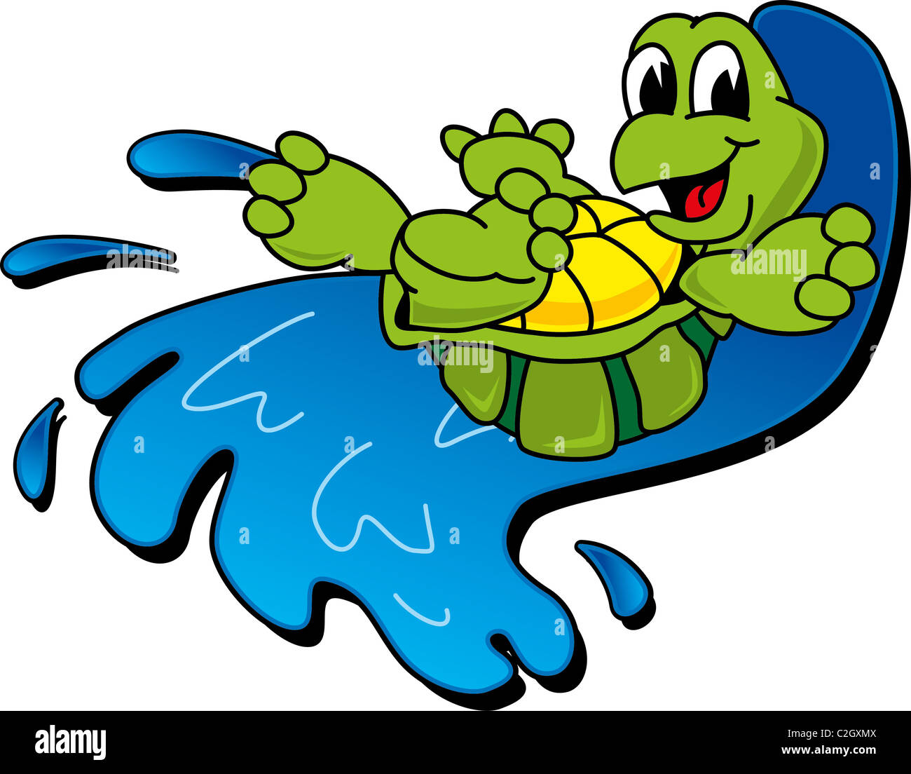 Cartoon Turtle Riding a Wave Stock Photo Royalty Free Image