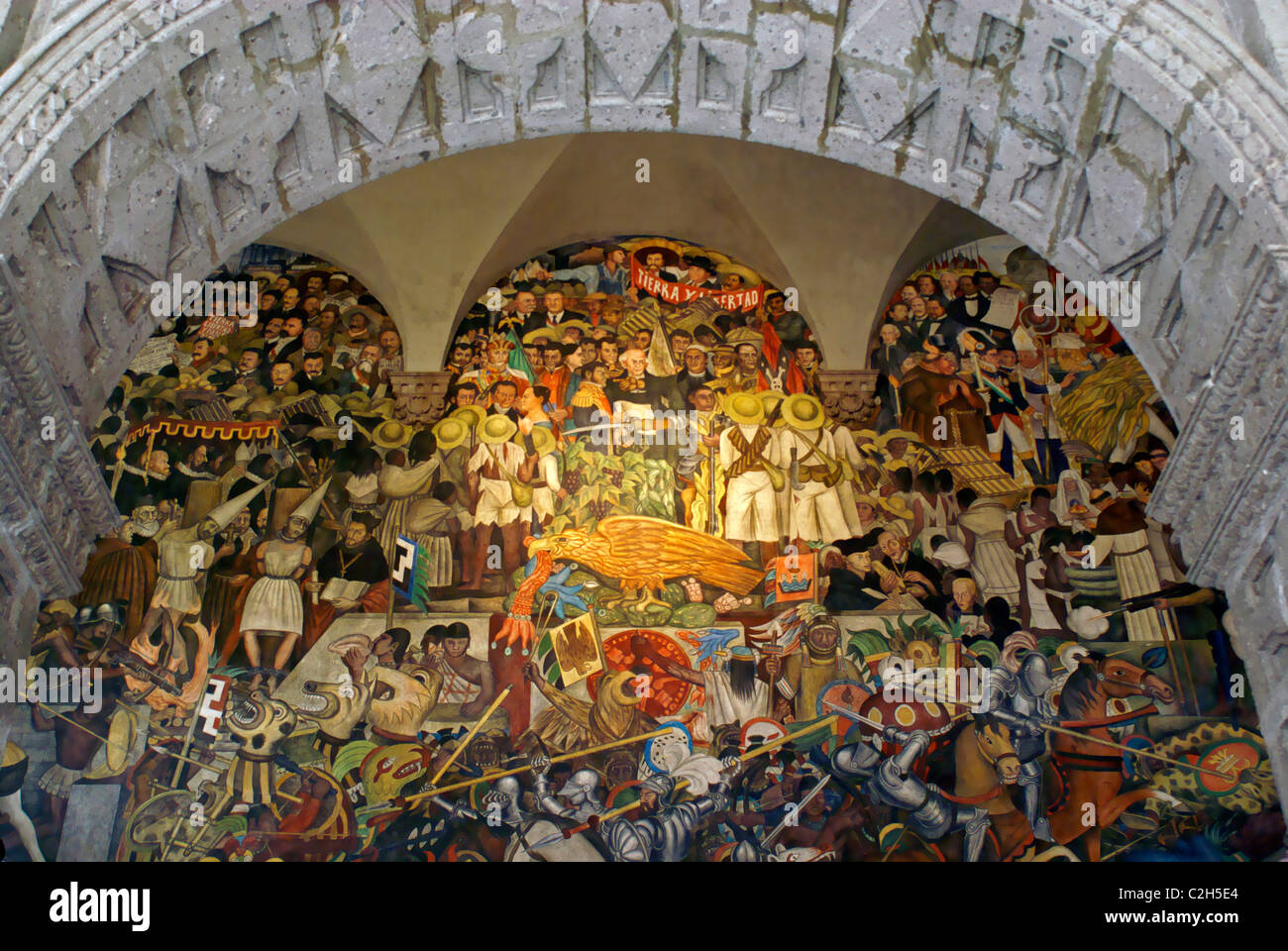 mural by diego rivers depicting the history of mexico national stock photo royalty free image