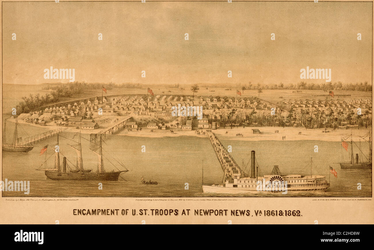 encampment of us federal troops at newport news 1861 stock photo encampment of us federal troops at newport news 1861