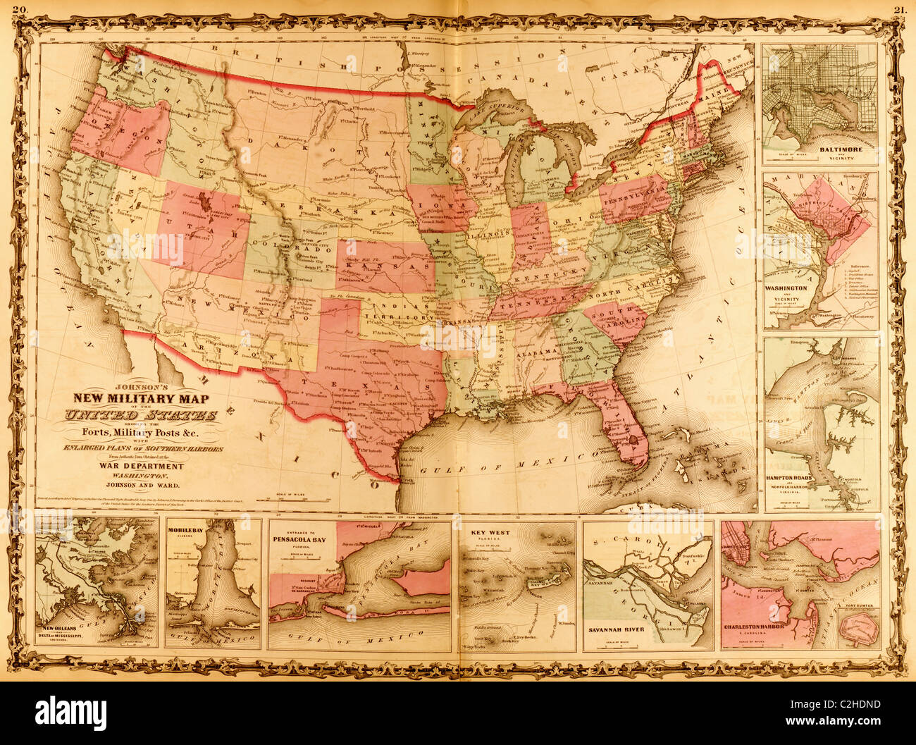 Military Map Of The United States Stock Photo Royalty Free - Us map 1862