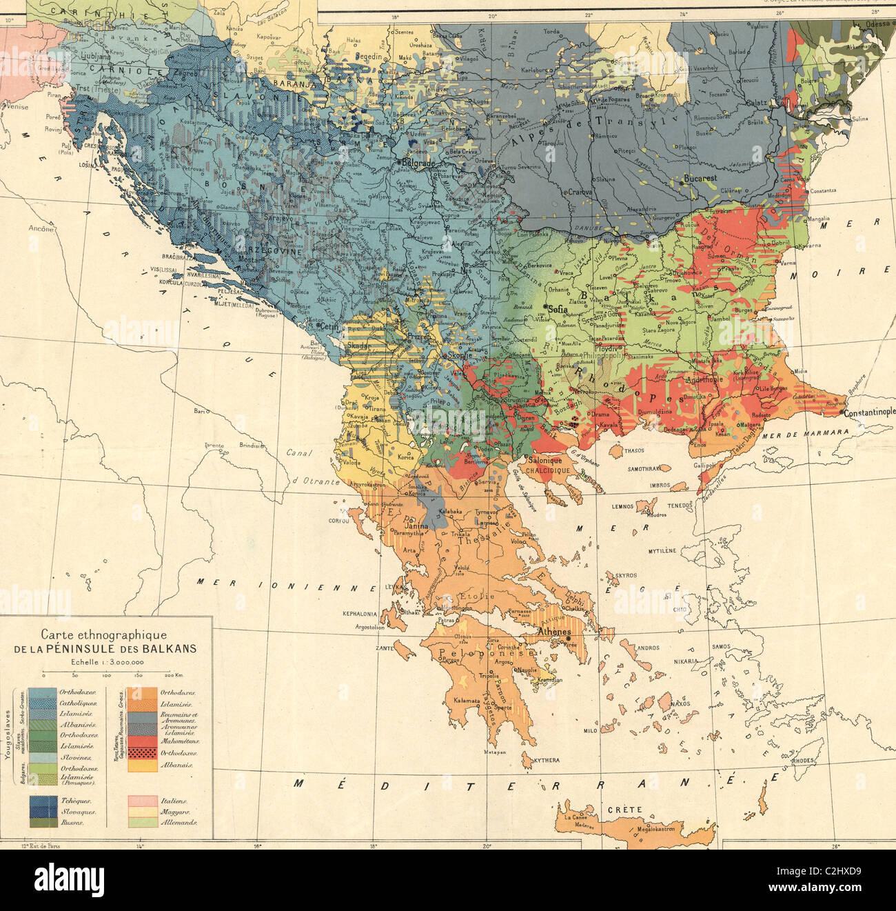 ethnographic map of the balkan peninsula  . ethnographic map of the balkan peninsula   stock photo
