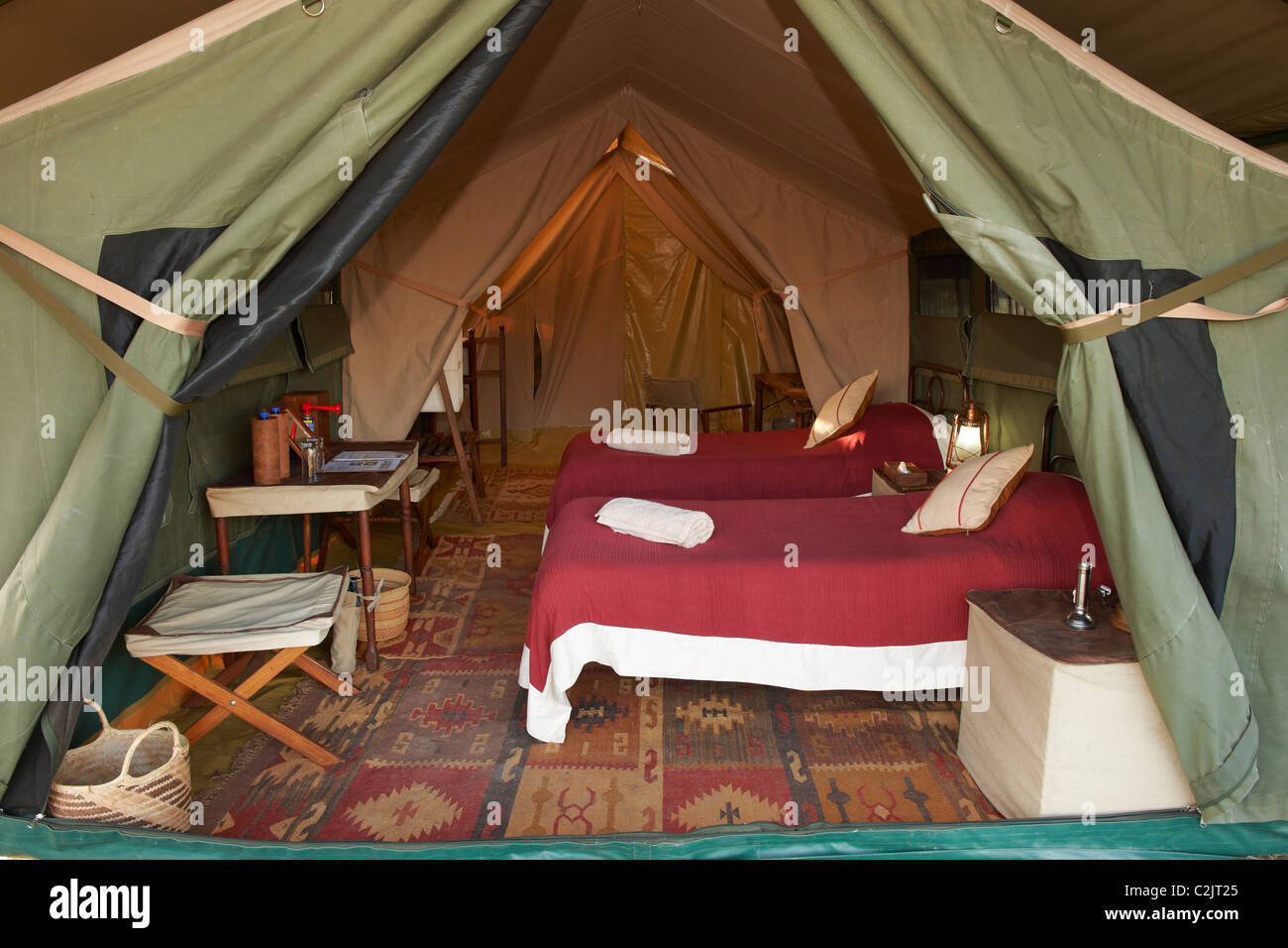 interior shot of luxury sleeping room in tent of Serengeti Safari Tended C& Serengeti Tanzania Africa & interior shot of luxury sleeping room in tent of Serengeti Safari ...