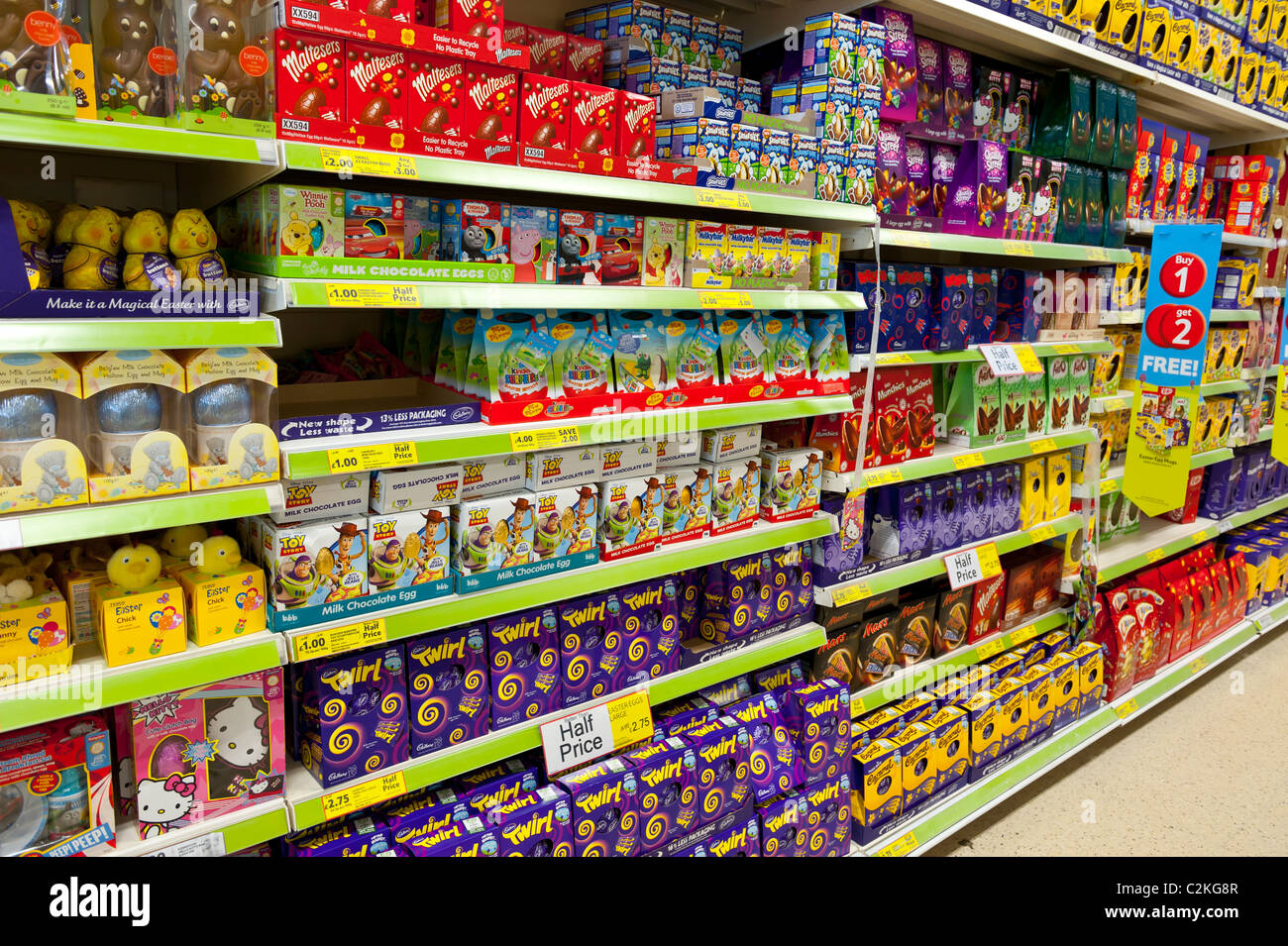 Easter eggs supermarket stock photos easter eggs supermarket a selection of chocolate easter eggs in a tesco supermarket in the uk stock image negle Gallery