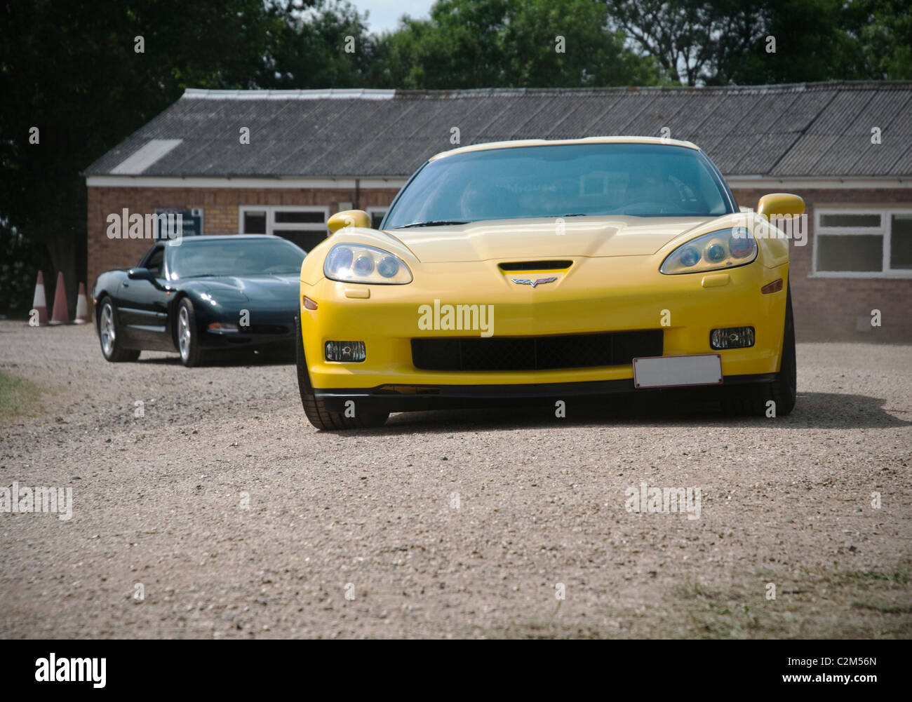Two modern American Corvette sports cars Stock Photo, Royalty Free ...