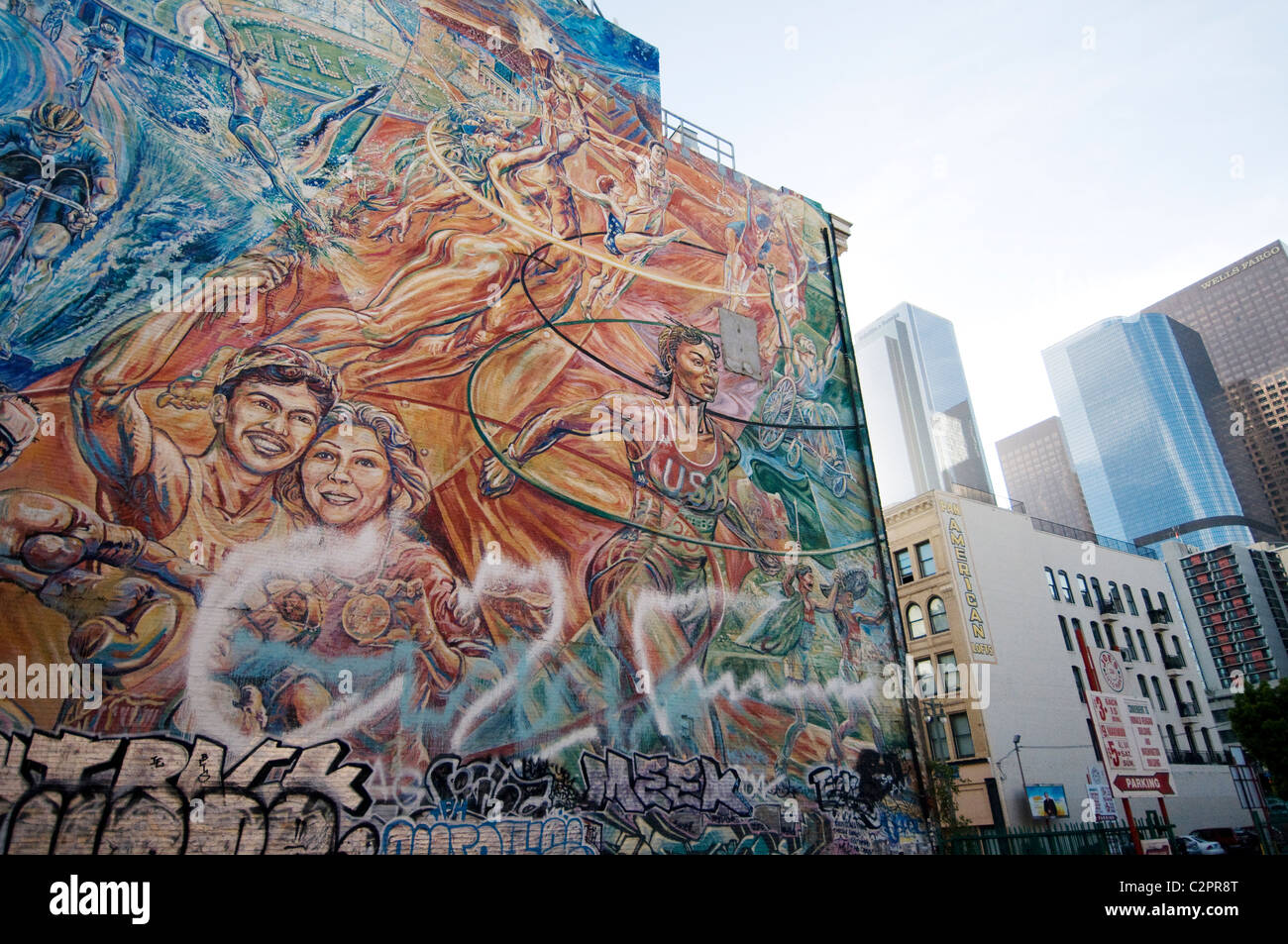 Mural on wall of building on broadway in downtown los for Broadway wall mural