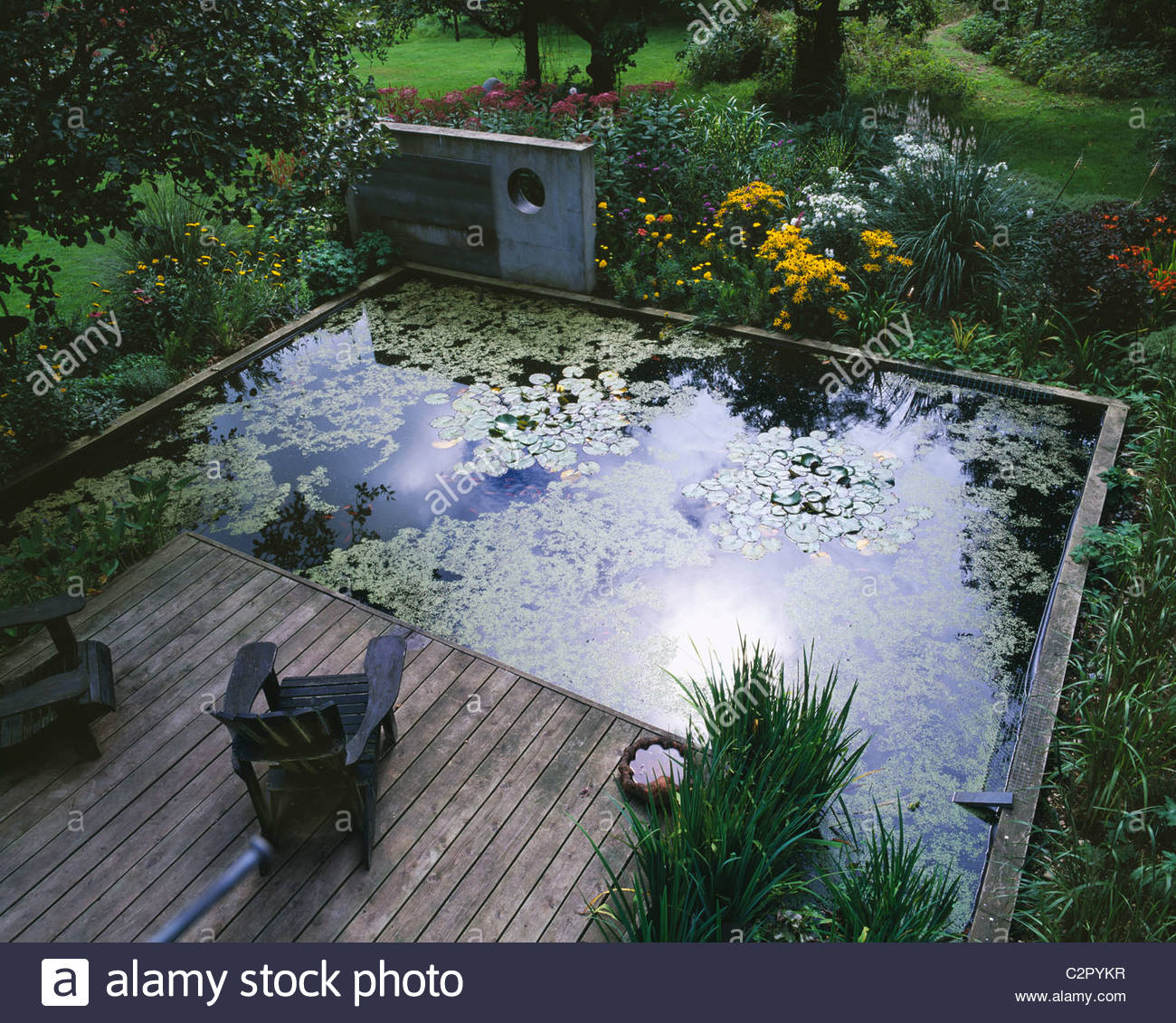 Concrete sculpture lily pond decking and adirondack for Concrete pond design
