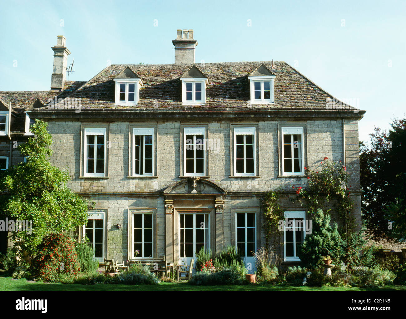 18Th Century House early 18th century village house with dormer windows uley stock