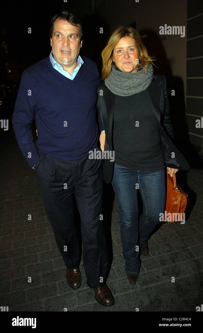 Marco Tardelli and his wife leaving the Unicorn Restaurant Dublin