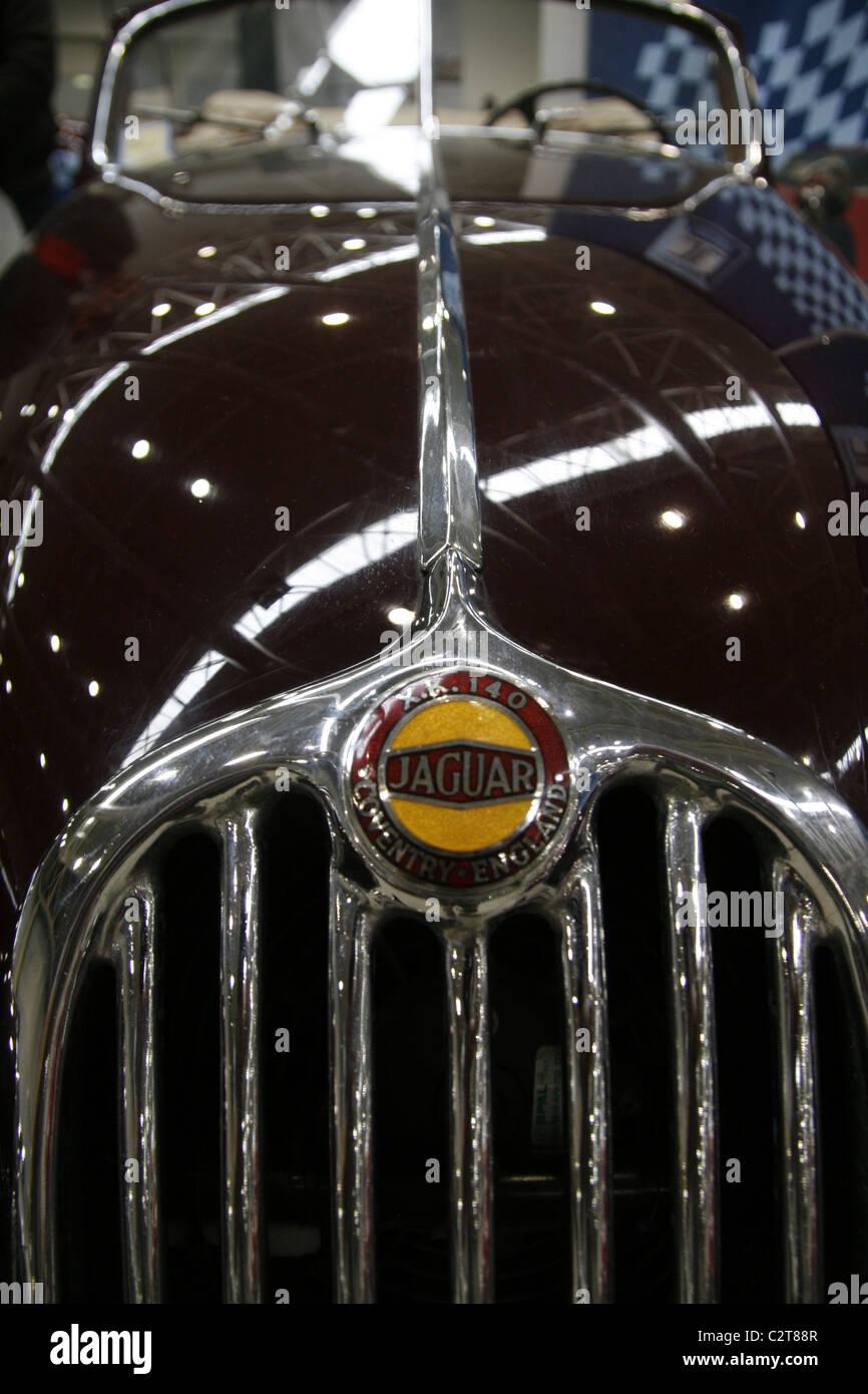 Old Vintage Jaguar Sports Car Symbol Badge At Motor Show Stock Photo