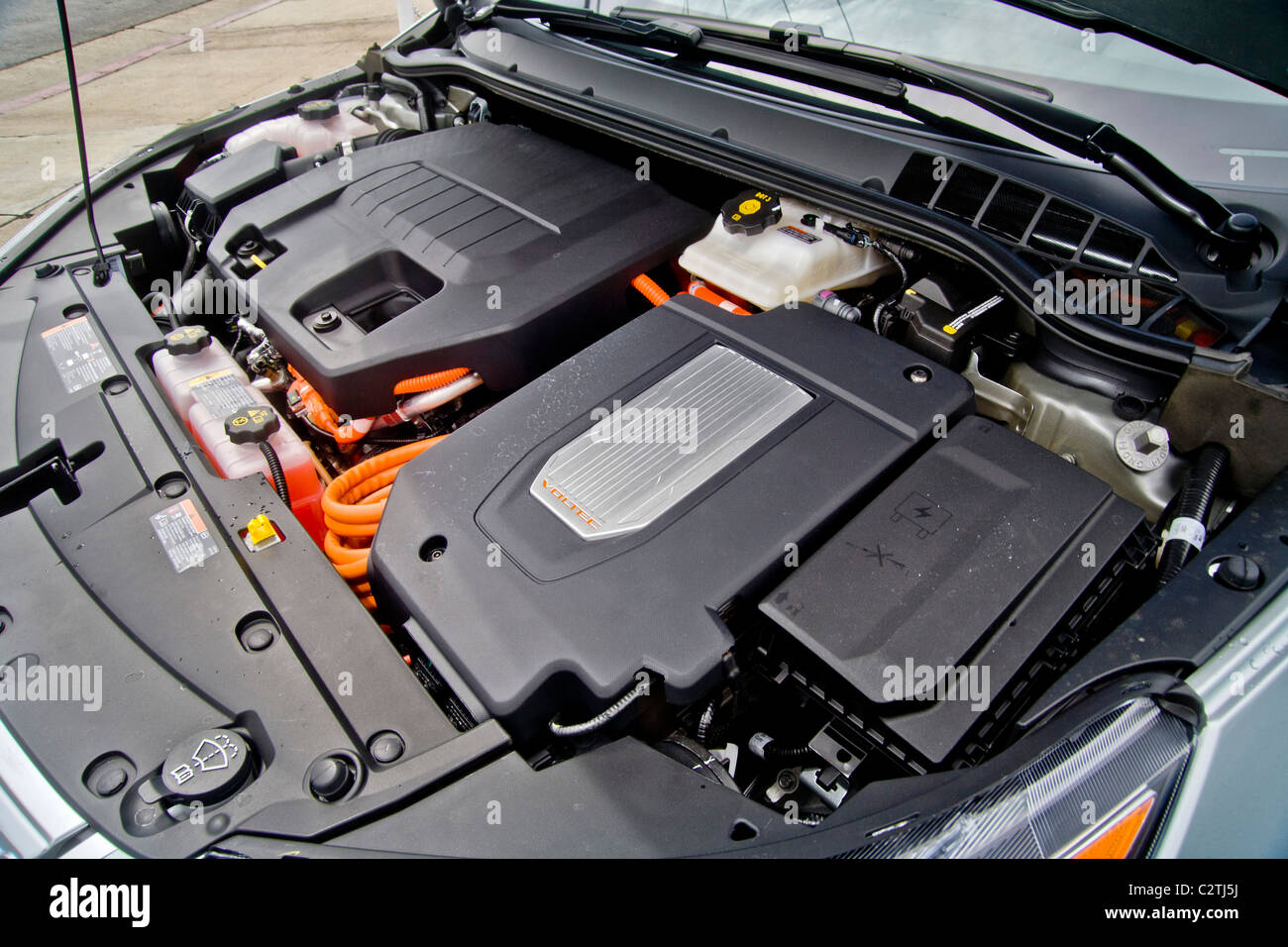 The Engine Compartment Of A Chevrolet Volt Hybrid Gas Electric Car