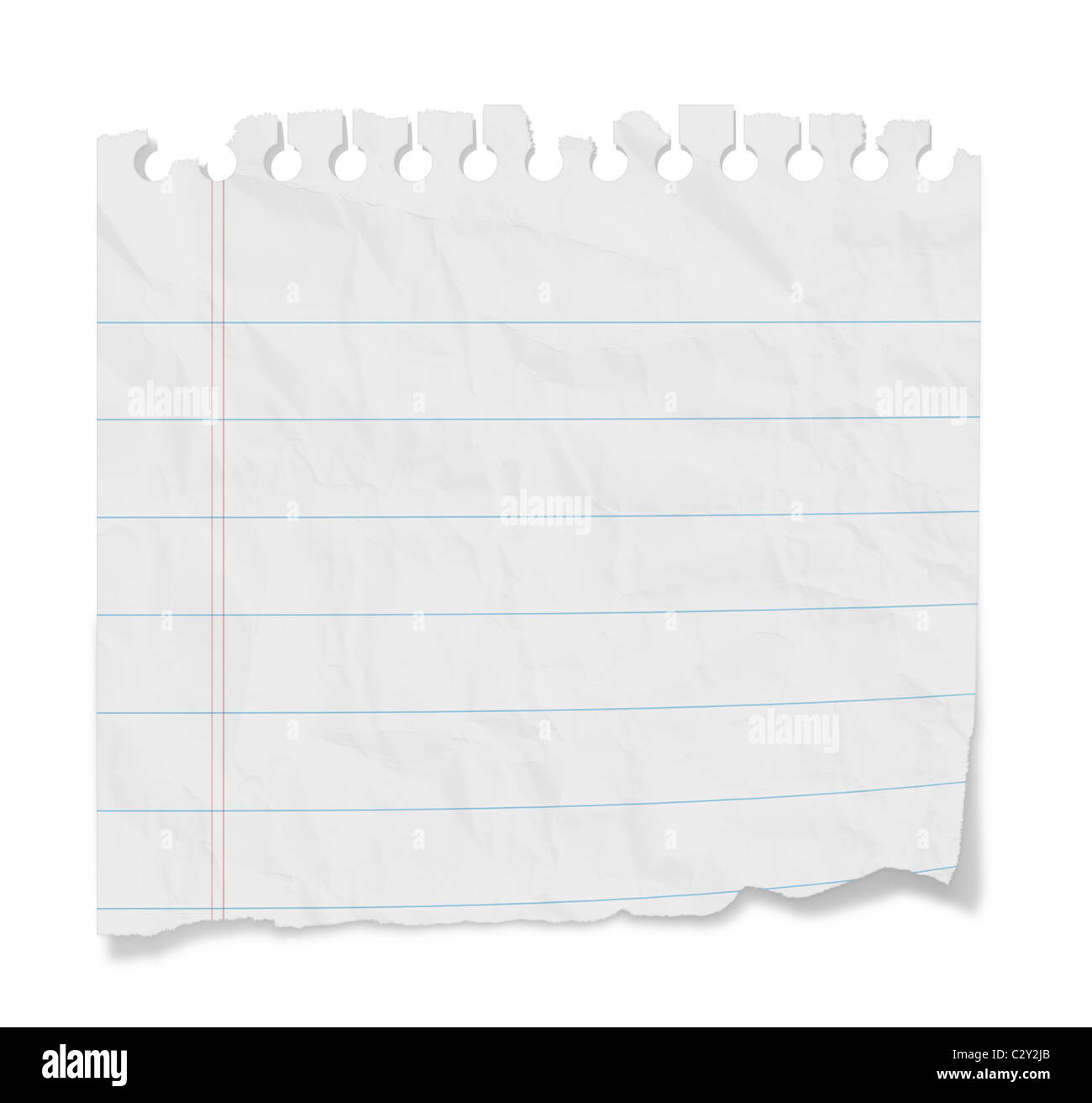 Torn Blank Lined Paper From A Notepad With Shadows. Isolated On A White  Background With Clipping Path  Blank Lined Paper Template