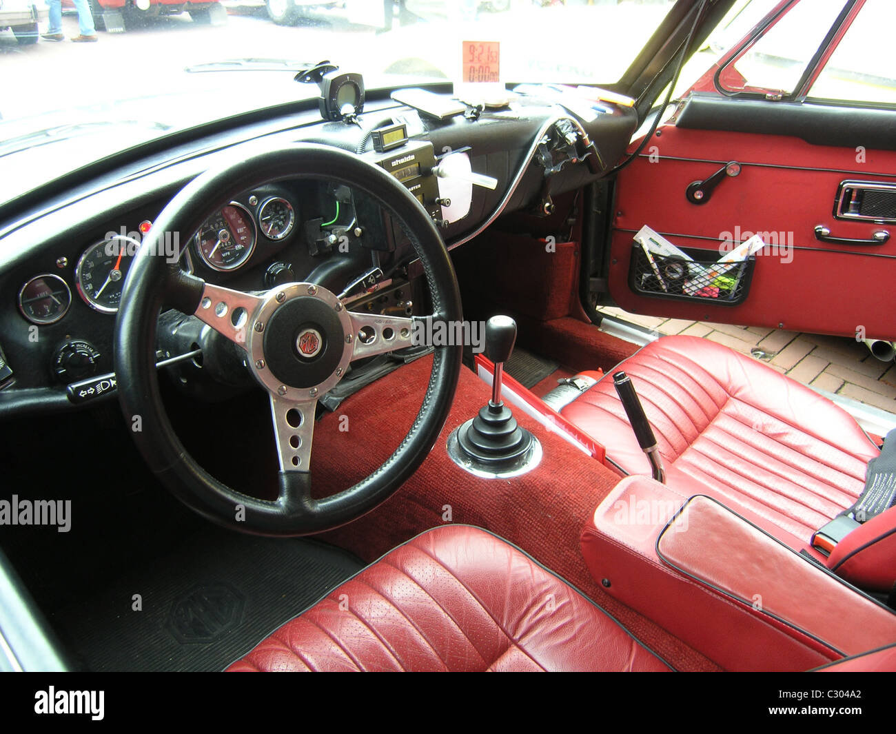 interior of classic mgb rally car ready for competition stock photo royalty free image. Black Bedroom Furniture Sets. Home Design Ideas