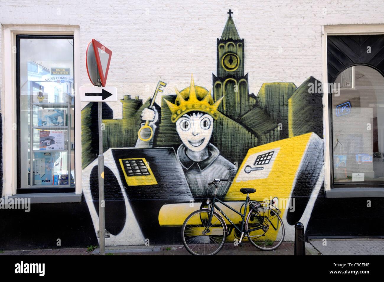 Graffiti wall utrecht - Utrecht Netherlands Graffiti Wall Art On Key Cutting Shop In Ridderschapstraat
