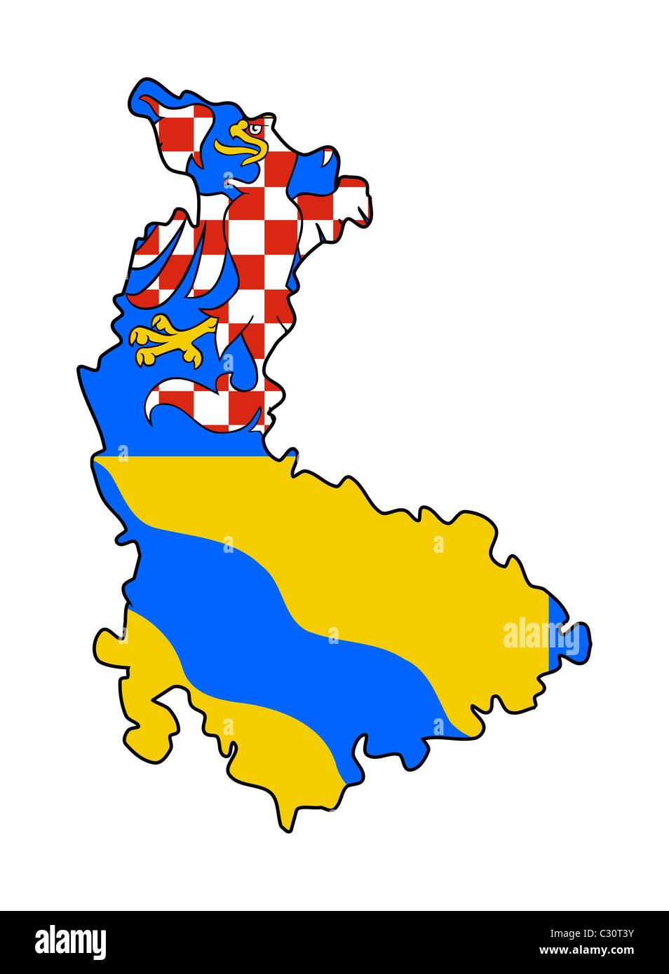 Flag of Olomouc region of Czech Republic on map isolated on white