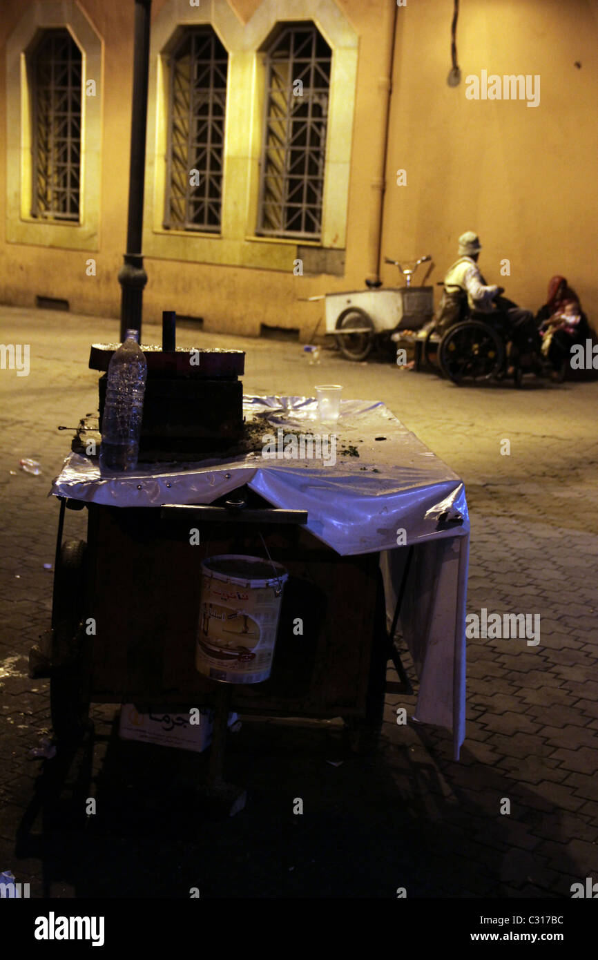 An empty street corner in central Marrakesh stands an ...
