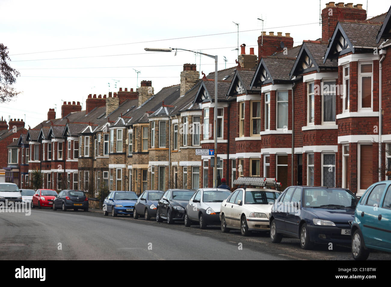 Typical Row Of Terraced Houses In York Stock Photo
