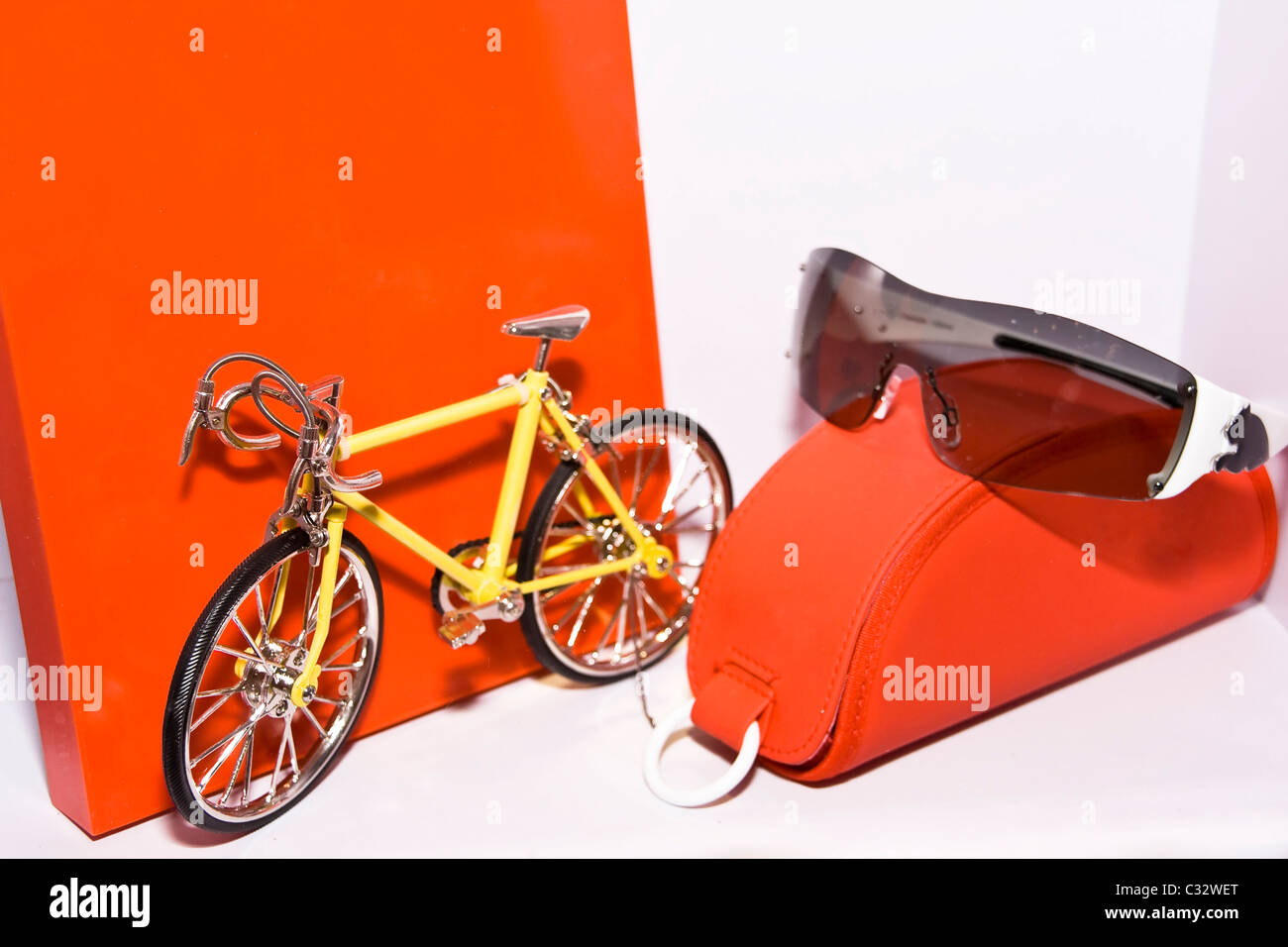 Eyeglasses display - Model Bicycles And Eyeglasses Display At The Shop
